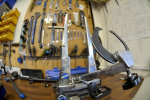 bicycle tools inside Biketrax workshop