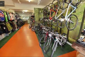 Biketrax store displaying road bikes and cycle clothes