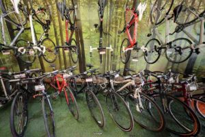 A selection of road bicycles on display inside biketrax shop