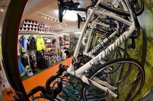 Specialized bicycles and bike accessories on display inside biketrax shop