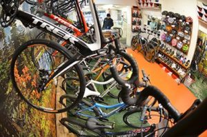 Trek bicycles and bike accessories on display inside biketrax shop